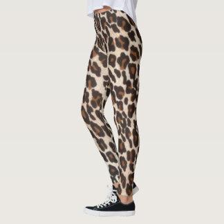 Brown Black Leopard Print Leggings