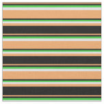 [ Thumbnail: Brown, Black, Lime Green, and Lavender Pattern Fabric ]