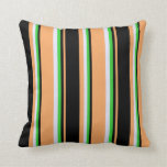 [ Thumbnail: Brown, Black, Lime Green, and Lavender Pattern Throw Pillow ]