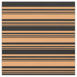 [ Thumbnail: Brown & Black Lined/Striped Pattern Fabric ]
