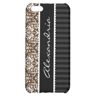 Brown & Black Personalized Damask iPhone 4 Case