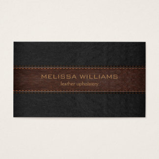 Brown & Black Stitched Leather Texture Business Card