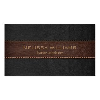 Brown & Black Stitched Leather Texture Double-Sided Standard Business Cards (Pack Of 100)