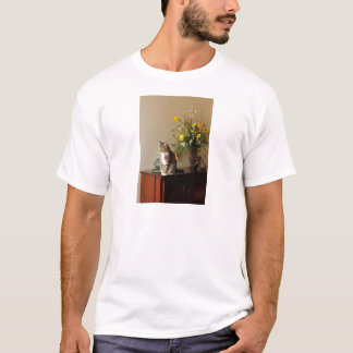 Brown black Tabby cat Sitting on piano flowers T-Shirt