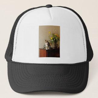 Brown black Tabby cat Sitting on piano flowers Trucker Hat