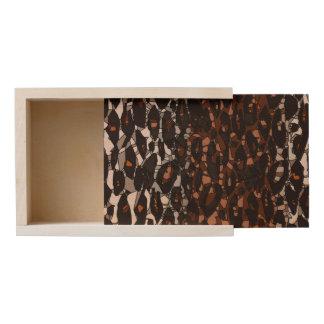 Brown Black White Cheetah Abstract Wooden Keepsake Box