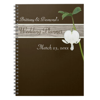 Brown Bleeding Heart Wedding Planner Notebook