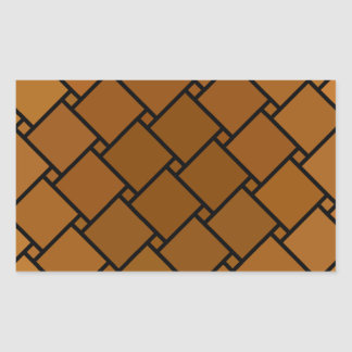 Brown Block-n-Dot Rectangular Sticker