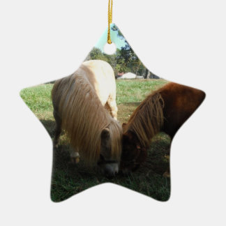 "Brown Blond,"" Miniature Horses""Two Little Ponies Ceramic Ornament"