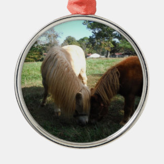 "Brown Blond,"" Miniature Horses""Two Little Ponies Metal Ornament"