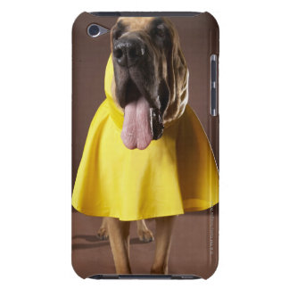 Brown bloodhound dog wearing yellow raincoat iPod Case-Mate cases