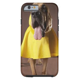 Brown bloodhound dog wearing yellow raincoat tough iPhone 6 case