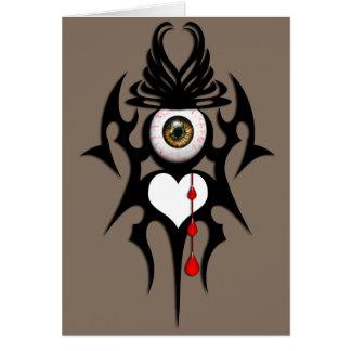 Brown bloodshot eyeball, tribal symbol greeting card