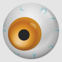 Brown Bloodshot Zombie Eyeball Halloween Classic Round Sticker
