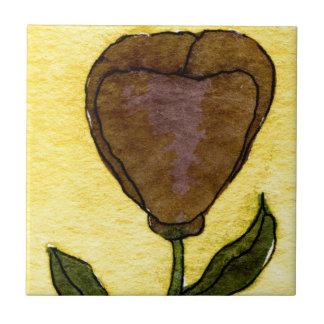 """""""Brown Bloom"""" Kitchen Garden Ceramic Tile"""
