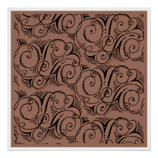 Brown Blown-up Deco Wrapping Paper Design Poster