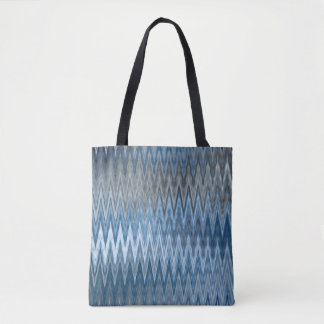Brown/Blue 2 Colors 2 Sides - Trendy Wavy Pattern Tote Bag