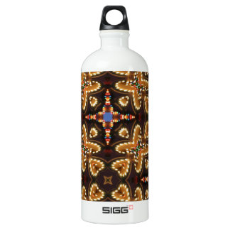 Brown,Blue, And Black Abstract Aluminum Water Bottle