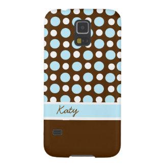 Brown Blue and White Polka Dot Custom Galaxy S5 Case