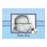 "Brown & Blue Baby Boy Birth Announcement 5"" X 7"" Invitation Card"