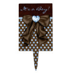Brown Blue Baby Boy Shower Cake Toppers