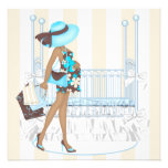 Brown Blue Baby Boy Shower Invitations