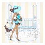Brown Blue Baby Boy Shower Invites