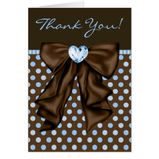 Brown Blue Baby Boy Shower Thank You Cards