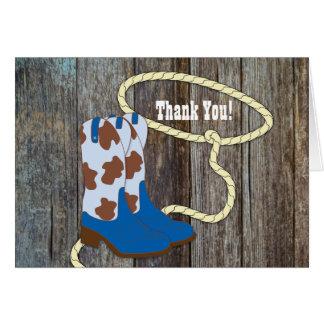 Brown Blue Barn Wood Cowboy Thank You Cards