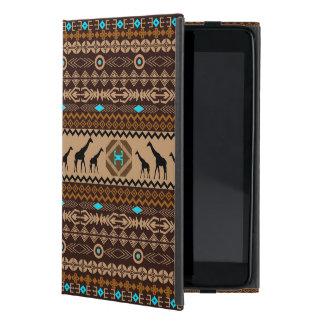 Brown Blue & Beige African Pattern & Giraffe Covers For iPad Mini