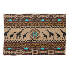 Brown Blue & Beige African Pattern & Giraffe Towel