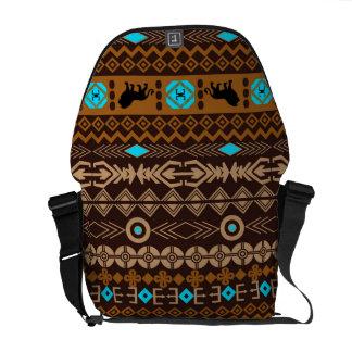 Brown Blue & Beige African Pattern & Lions Messenger Bag