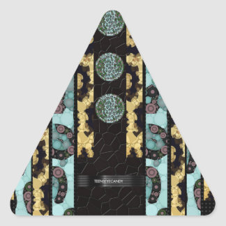 Brown Blue Black Cheetah Triangle Sticker