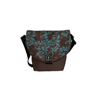 Brown, Blue, Black Ornate Scrolls Messenger Bag
