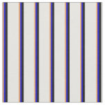 [ Thumbnail: Brown, Blue, Black & White Lines Pattern Fabric ]