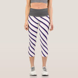 [ Thumbnail: Brown, Blue, Black & White Lines Pattern Leggings ]