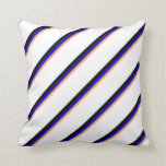 [ Thumbnail: Brown, Blue, Black & White Lines Pattern Pillow ]