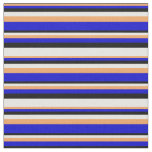 [ Thumbnail: Brown, Blue, Black & White Stripes Pattern Fabric ]