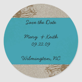 Brown & Blue Blossom Save the Date Classic Round Sticker
