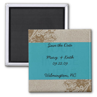 Brown & Blue Blossom Save the Date Magnets