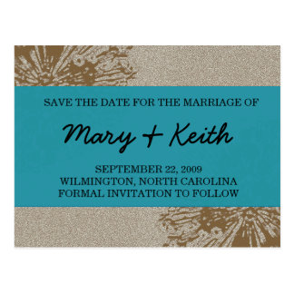 Brown & Blue Blossom Save the Date Postcard