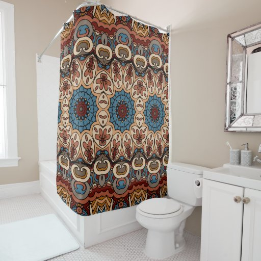 brown blue boho geometric pattern shower curtain zazzle