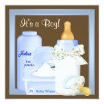 Brown Blue Bottle Pacifier Baby Boy Shower Custom Invitation