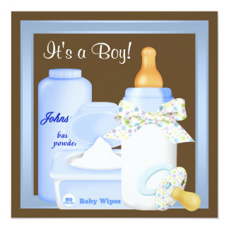 """Brown Blue Bottle Pacifier Baby Boy Shower 5.25"""" Square Invitation Card"""