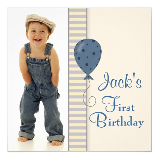 "Brown Blue Boys Photo Birthday Party 5.25"" Square Invitation Card"
