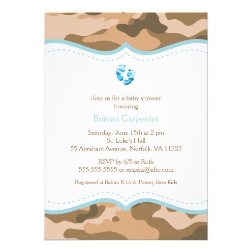 Brown & Blue Camo Baby Shower Invitation with feet (front side)