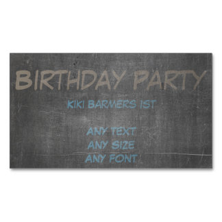 Brown & Blue Chalk - 1st Birthday Party Invite Magnetic Business Card
