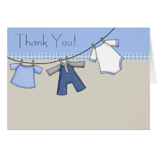 Brown Blue Clothesline Baby Boy Thank You Cards