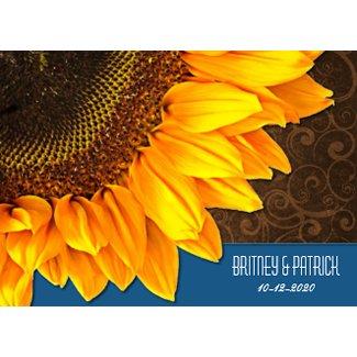 Brown Blue Country Sunflower Wedding Invitations invitation