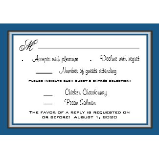 Brown Blue Country Sunflower Wedding RSVP Cards invitation